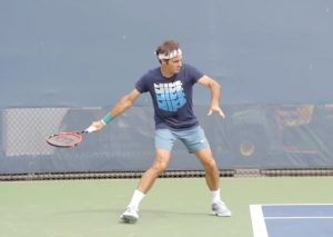 Forehand hitting the net Federer